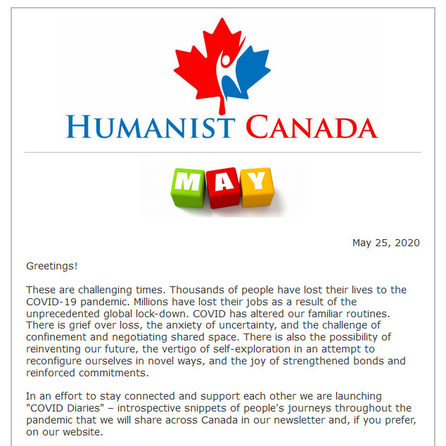 Humanist Canada May 2020 Newsletter