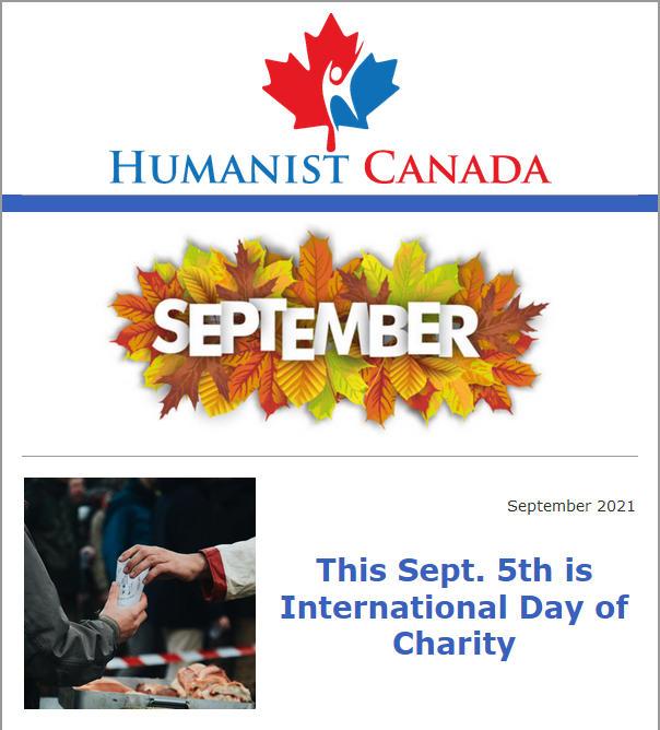 Humanist Canada Newsletter - Setempber 2021