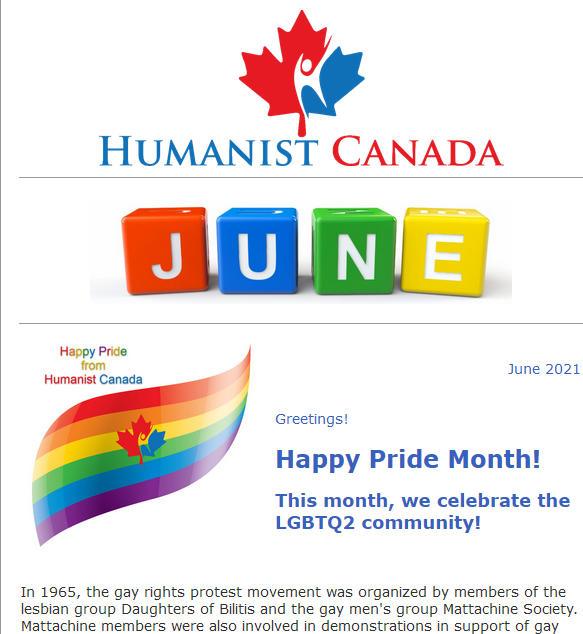 Humanist Canada Newsletter - June-2021